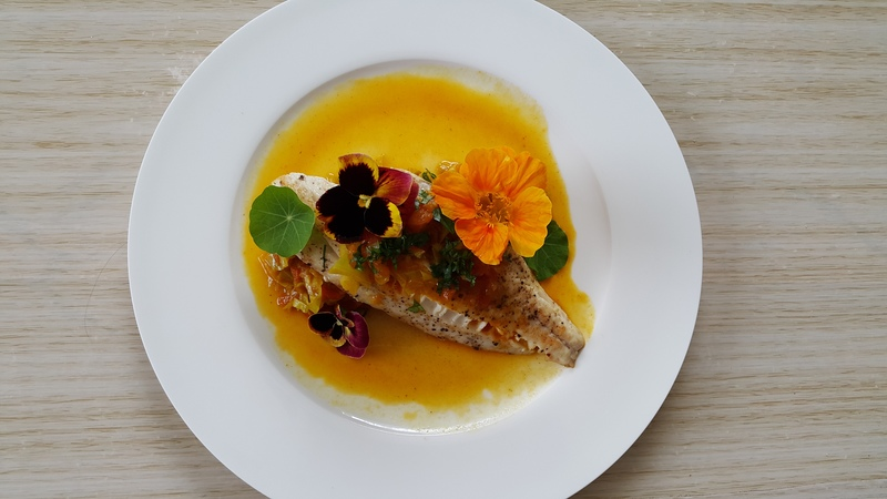 Gurnard fillet with cabbage curry