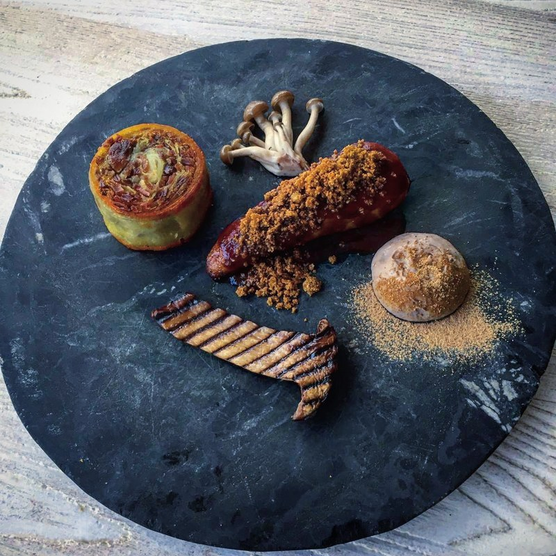 Guinea fowl breast | Potato and leg roulade | Pickled Shimeji | Skin crumble | Gravy