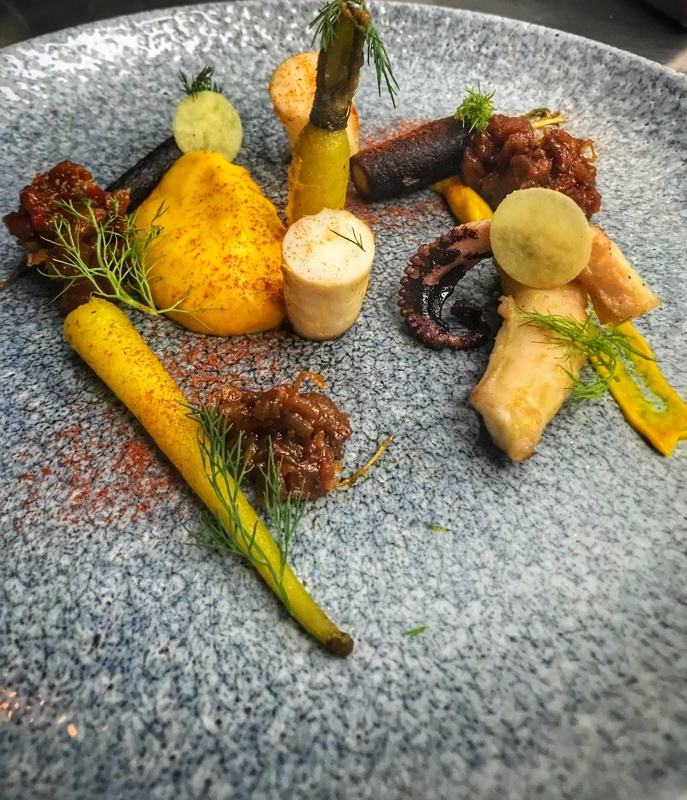 Octopus, carrot, ginger, chorizo, chilli