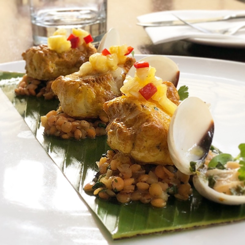 Tandoori monkfish with spiced lentils and pinapple salsa
