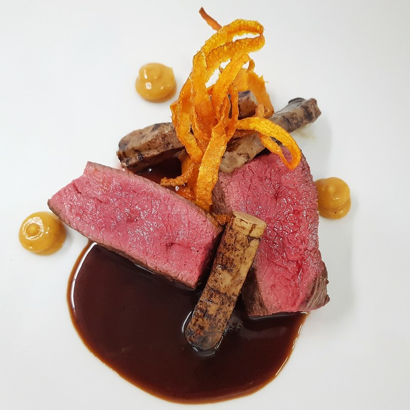 SADDLE OF DEER :black_small_square: black salsify :black_small_square: pumpkin puree :black_small_square: fried carrot :black_small_square: quince :black_small_square: jus infused with dark chocolate