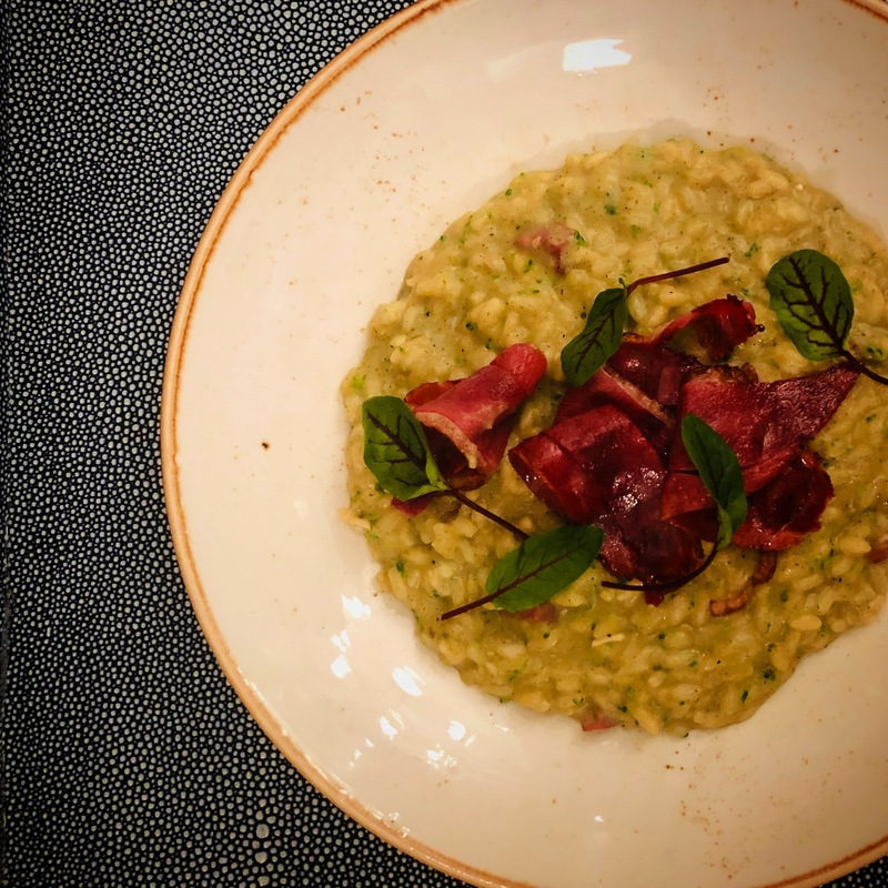 Roasted Eggplant Risotto with seared thin sliced smoked duck breast