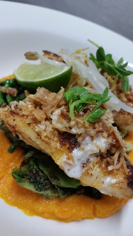 Coconut lime rankin cod with carrot puree