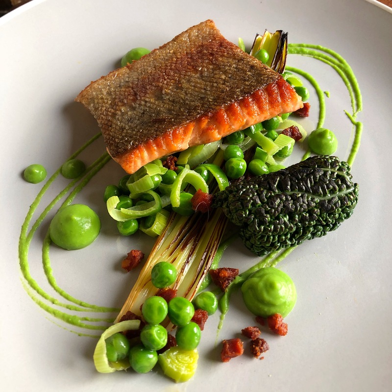 Trout/Pea Purée/Butter Roasted Leek/Charred Savoy Cabbage/Salmon-Chorizo Mousse/Pea-Leek-Chorizo Fricasse