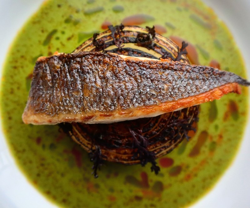 Pan fried sea bass, charred onion cooked in smoked butter, pepper dulce, cider onion and herb soup, sea buckthorn and chive oil.