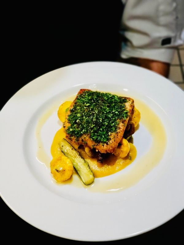 Herb Crusted Canadian Halibut, zucchini, squash, mushrooms, beurre blanc
