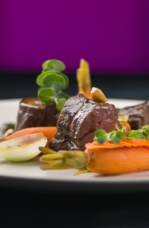 Lamb fillet with young vegetables, sauce hanzelnut