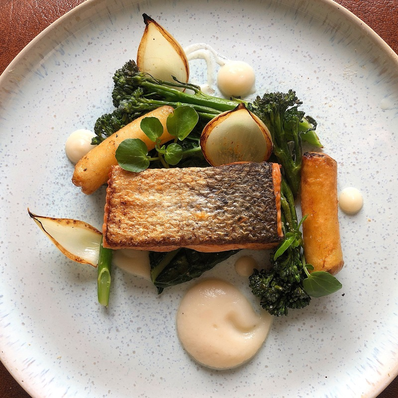 Salmon/Celeriac/Tenderstem Broccoli/Cavolo Nero/Crispy Potato/Charred Onions