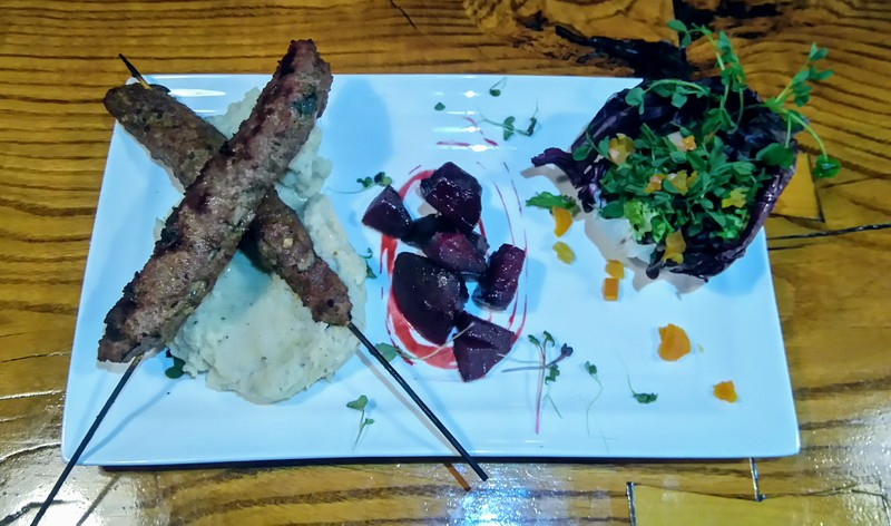 Berbere spiced lamb with capers and mint. Honey beets with a deep roasted olive oil &  balsamic beet puree. Coconut milk celeriac and potato mash. Radicchio microgreens salad with Turkish apricots dressed in a passionfruit and strawberry vinaigrette