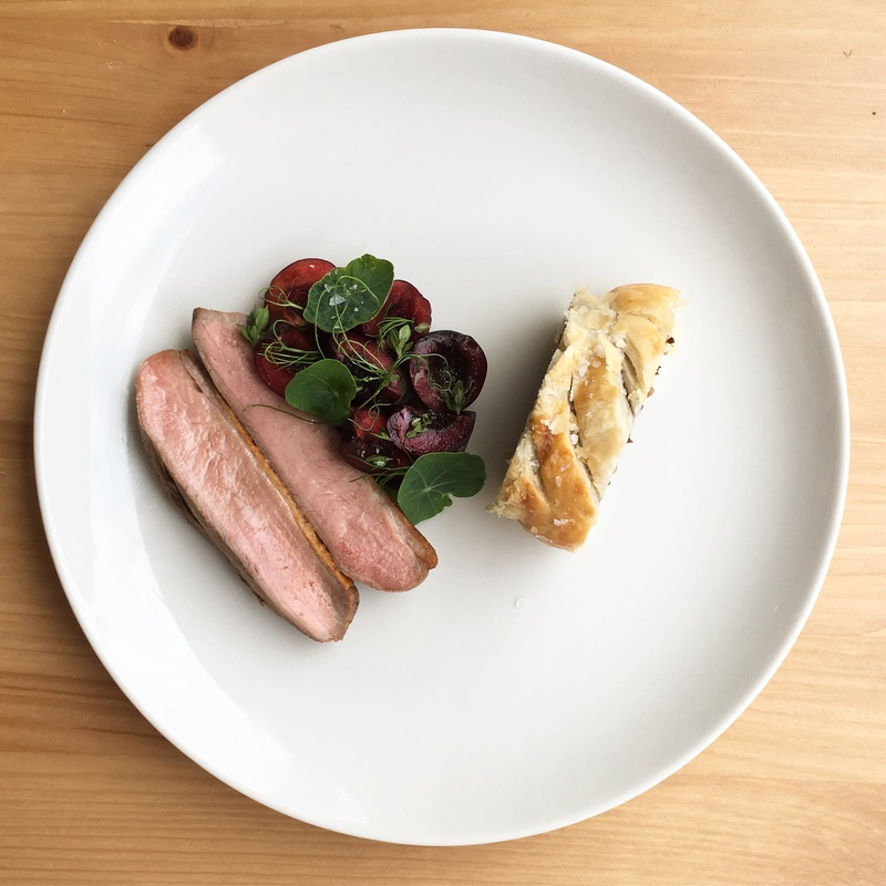 Duck, cherries, heart sausage roll