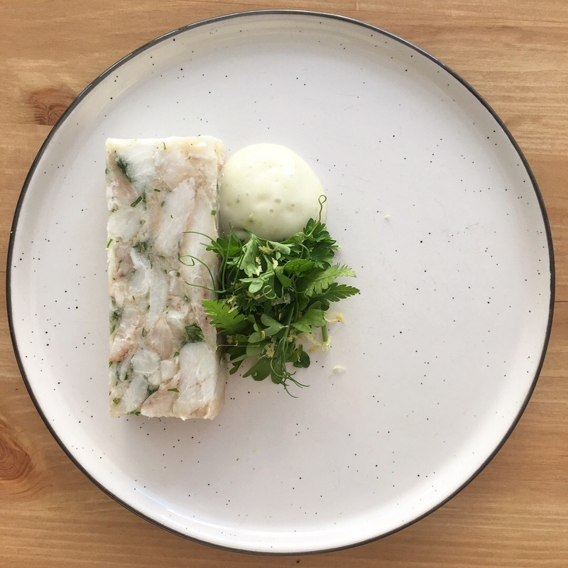 Cod head terrine, tartare sauce, parsley, sweet cicely, lemon, pea tendrils