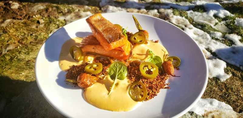 Steelhead:black_small_square:Lime Puffed Quinoa:black_small_square:Roasted Celeriac and Atlas Carrots:black_small_square:Slow Roasted Tomato Veloute:black_small_square:Dill Pickled Jalapenos