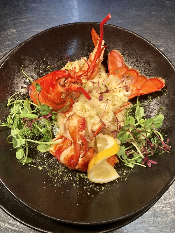 Lobster 3 ways at Christmas- Yakitori, Prosecco risotto and bisque.