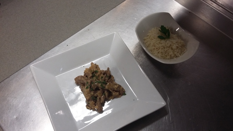 Beef stoganoff  Served with pilaff rice