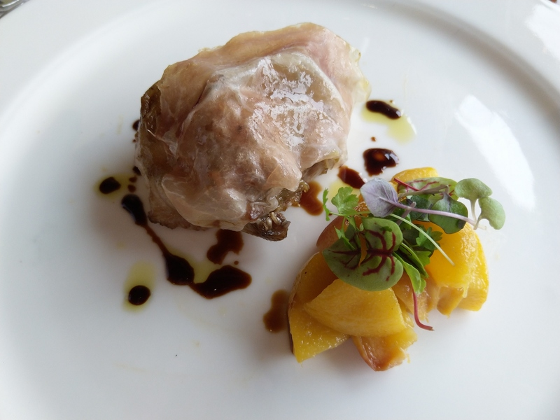 Roasted and confit partridge, shaved Culatello, 30 yr balsamic and peach compote