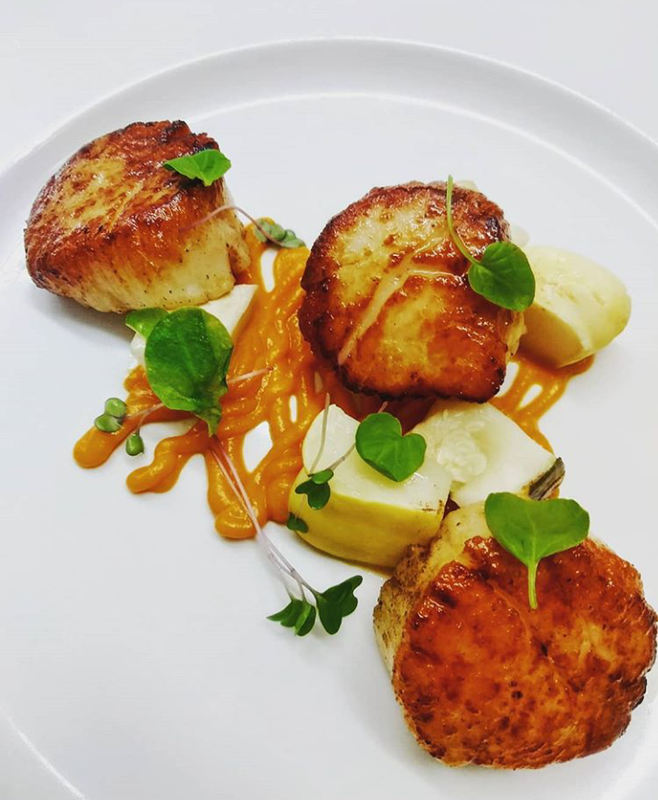 Blistered Santa Barbara scallop, carrot ginger puree. Patty pan squash, watercress.