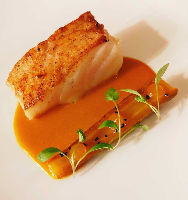 Cod, carrot, Indian spices