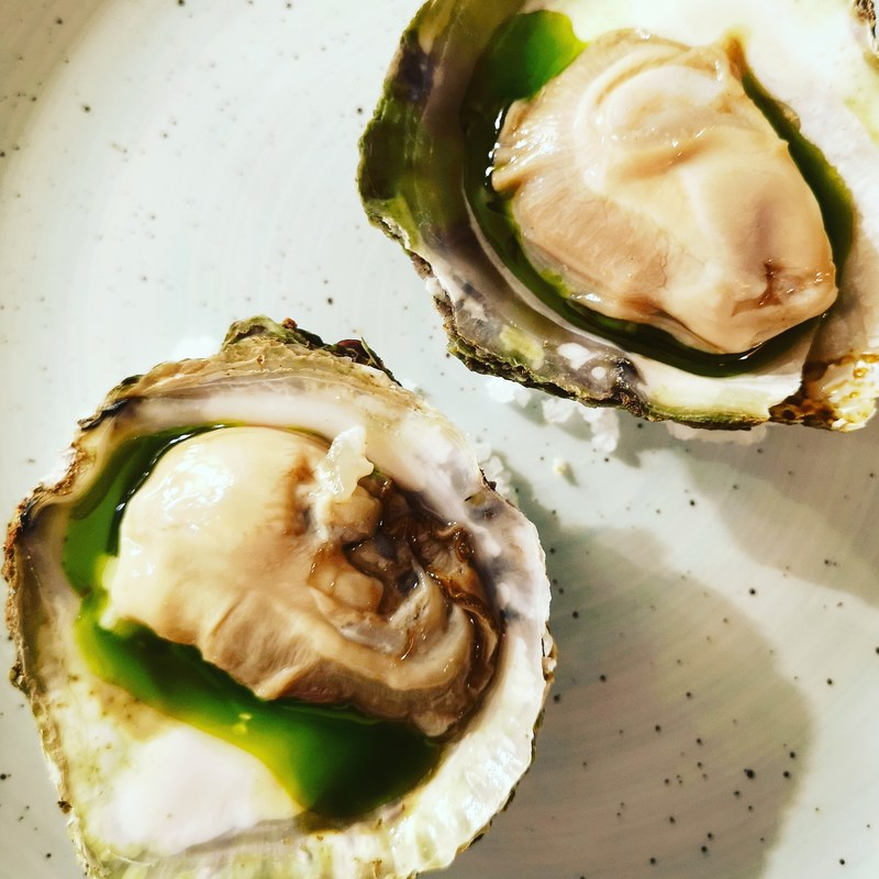 Native porthilly oysters, apple, rocotto chilli