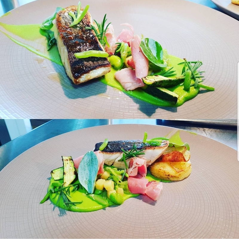 seared stonebass-peas-pommesanna-poached smoked ham-cougettes-sea greens