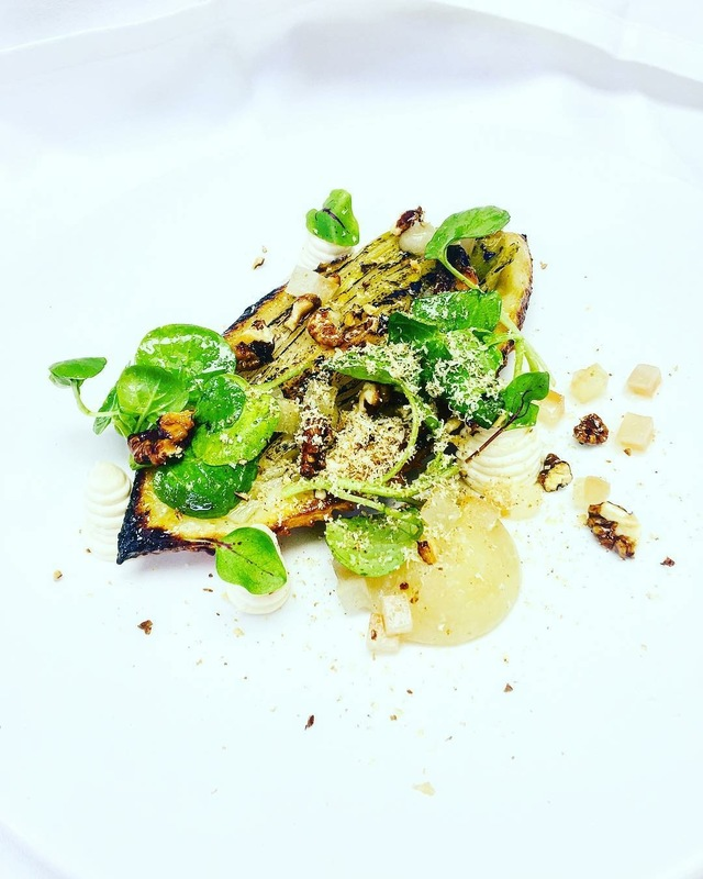 Chicory tart tatain pears, walnut and levin down