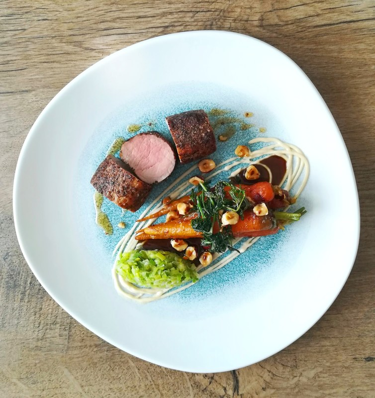 Peppered pork tenderloin, hazelnut Beurre noisette carrots, leek, parsnip puree, pork jus..