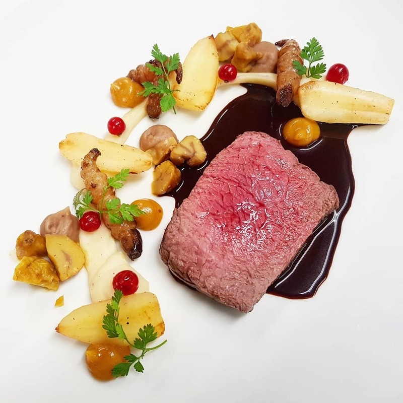 SADDLE OF DEER :black_small_square: chervil root: puree & sauted :black_small_square: chestnut: pickled & cream :black_small_square: japanese artichoke :black_small_square: quince gel :black_small_square: jus infused with dark chocolate