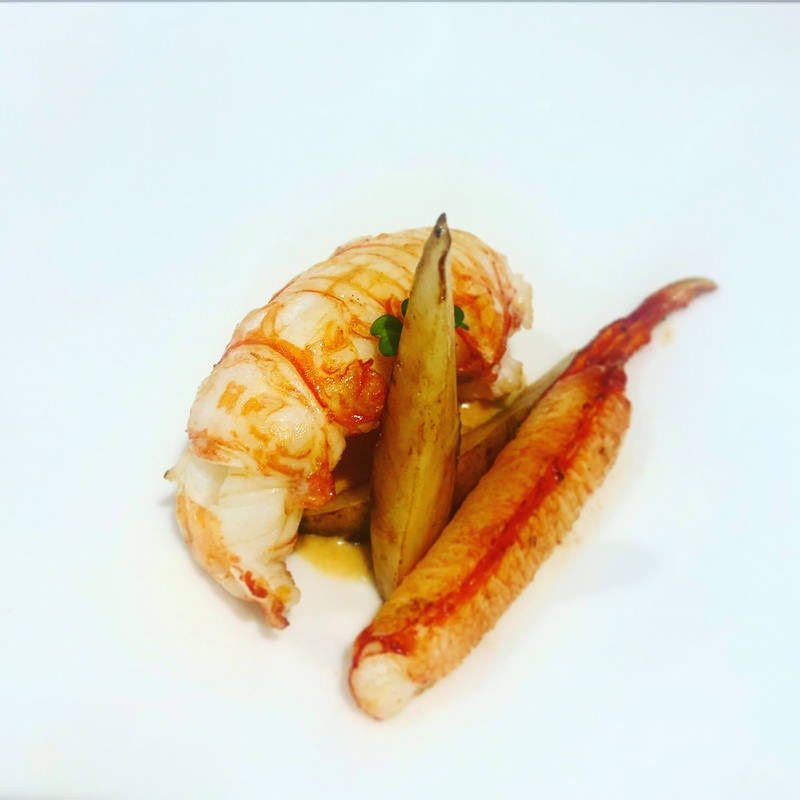 Pan Roasted XL Isle of Rona Langoustine Tail & Claw. Pickled and Roasted Jerusalem Artichoke
