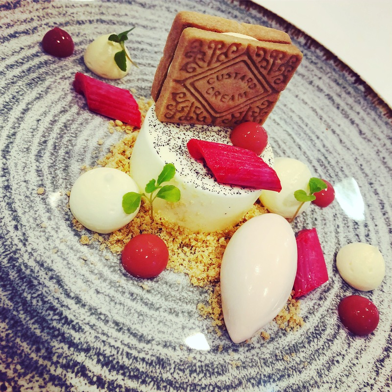 Rhubarb and Custard - Madagascan Vanilla Panna Cotta with Grenadine Poached Rhubarb Ice Cream and Homemade Custard Creams