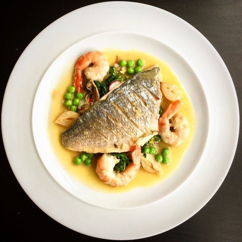 Poached Golden bream in sauce | tarragon, wine, wine vinegar, shallots, butter, lemon | pea | sprout of peas | spinach | anchovies | prawns.