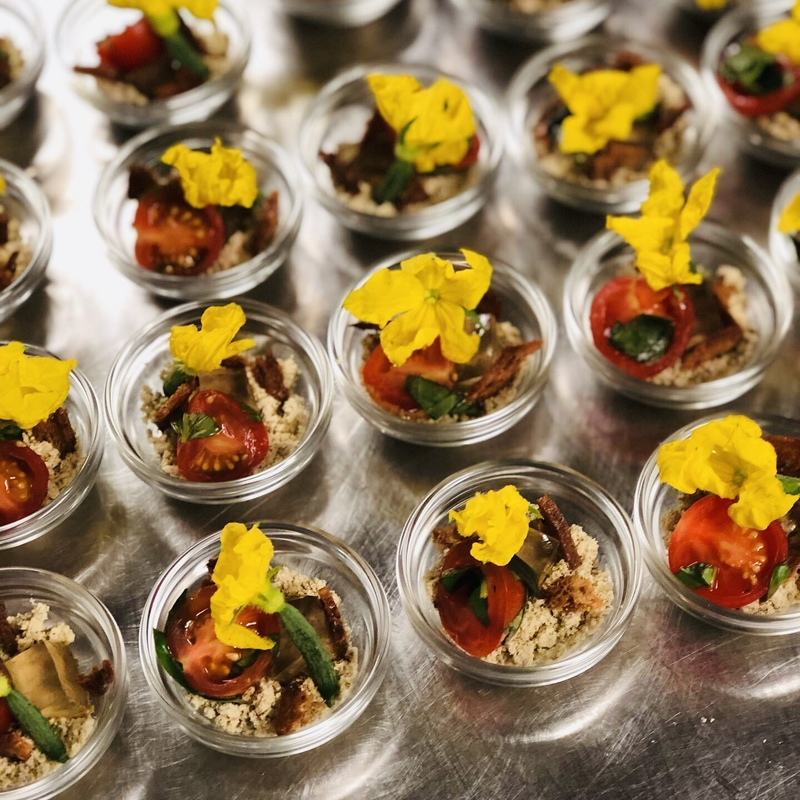 Olive soil, cucumber jelly, basil infused tomato, croutons, cucumber flower