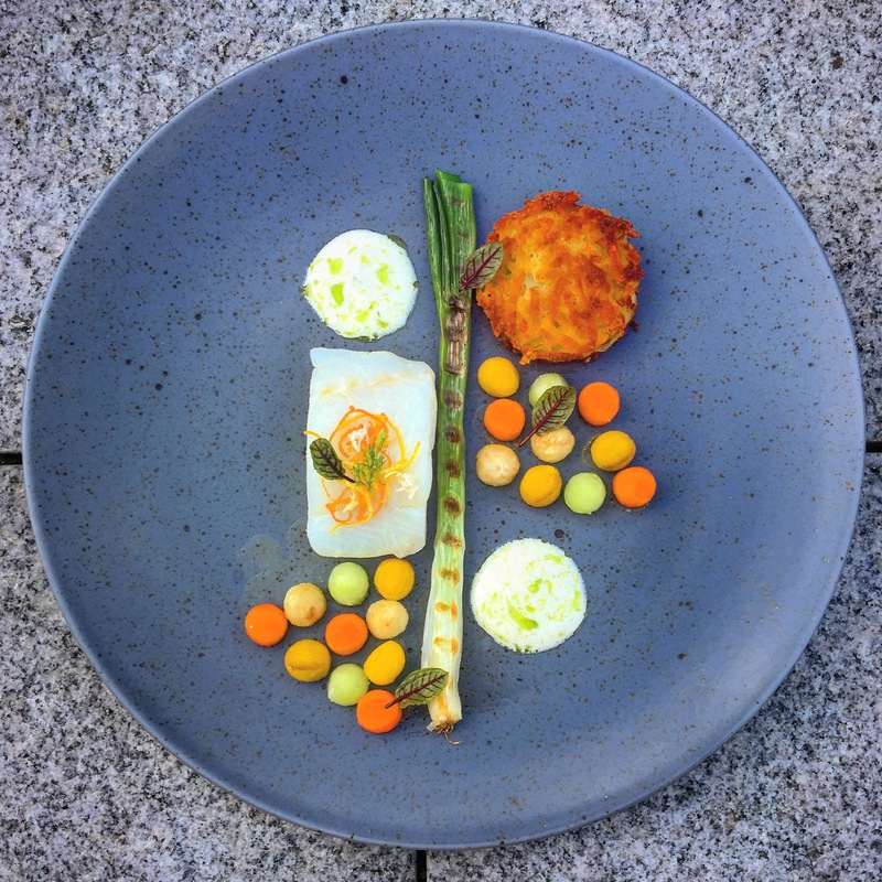 • confit cod • rösti • grilled and glazed vegetables • apple horseradish sauce