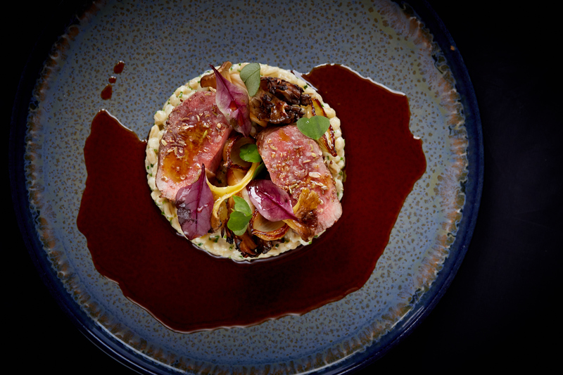 Spiced Scotch Lamb Loin recipe with pearl barley, grelot onions & girolle mushrooms by Jamie Scott