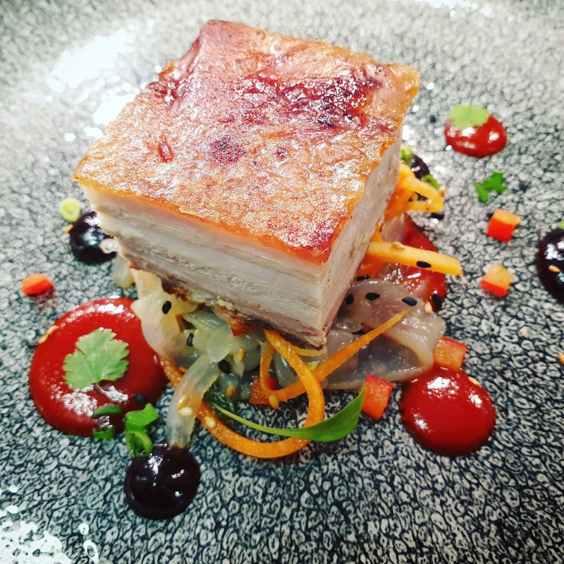 Miso Peppered Pork Belly/ Pickled Jelly Fish Salad.