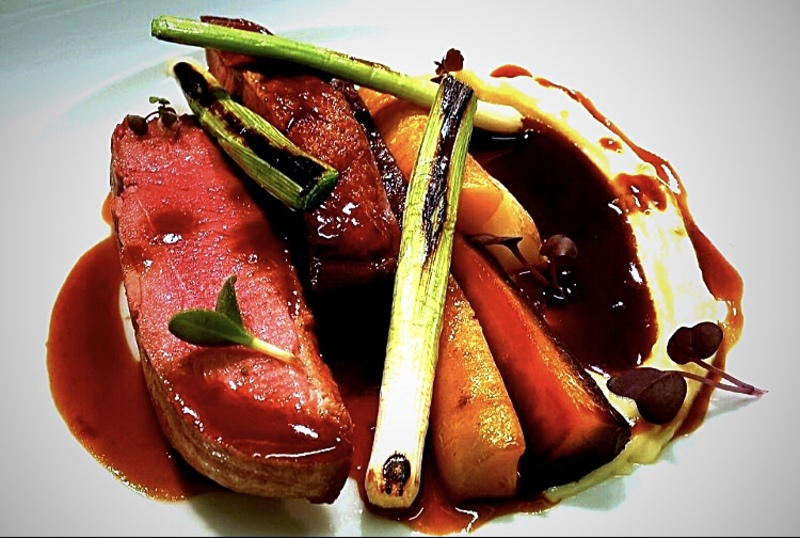 Roast Goosenargh Duck Breast • Charred Baby Leeks • Heritage Carrots cooked in Duck Fat • Smoked Potato Purée • Roast Chicken Jus.