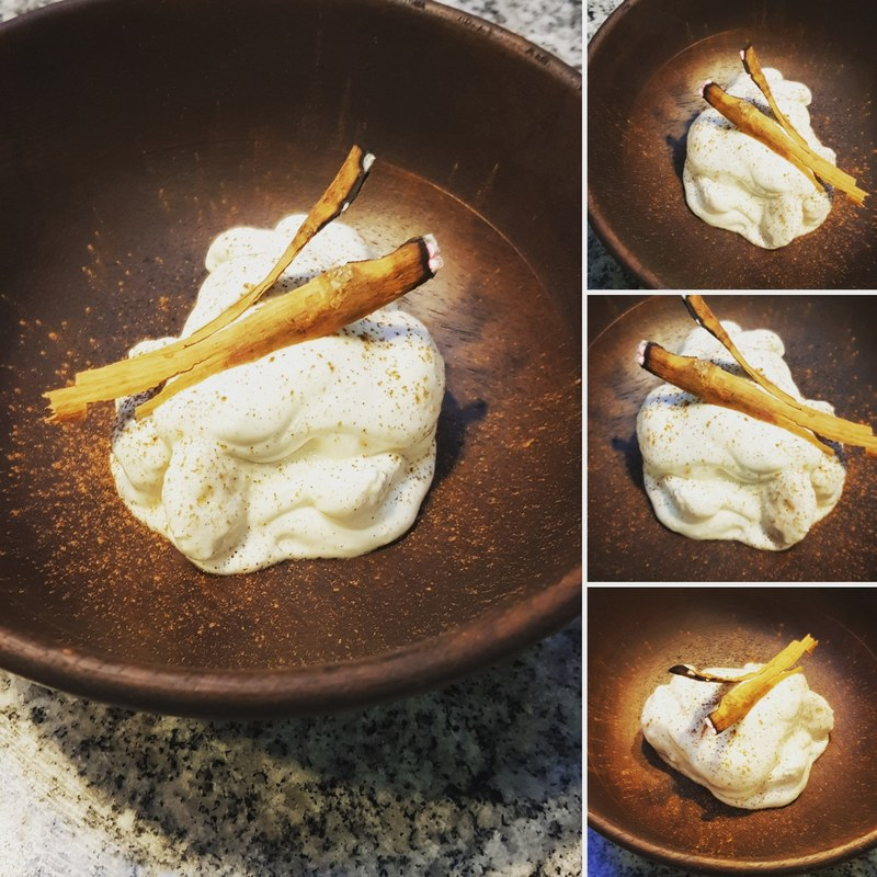 Cinnamon smoked banana and sour cream