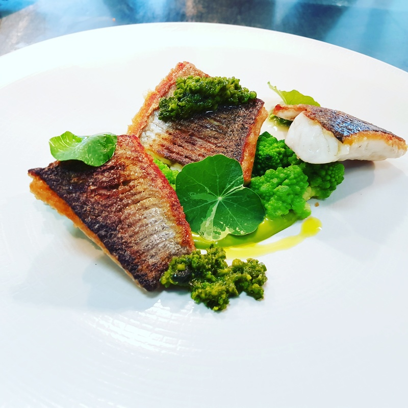 seared sea bass-pistachios/spinach/shellfish/chix stock emulsion- butter blanched romanesco -sweet pistachio/romanesco  crumbs-nasturtium.