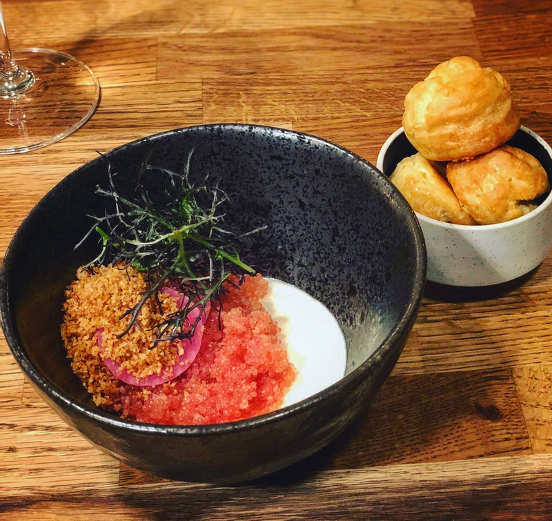 Lumpfish roe w. jerusalem artichoke and smoked cheese pannacotta, artichoke crumble and parmesan gougeres