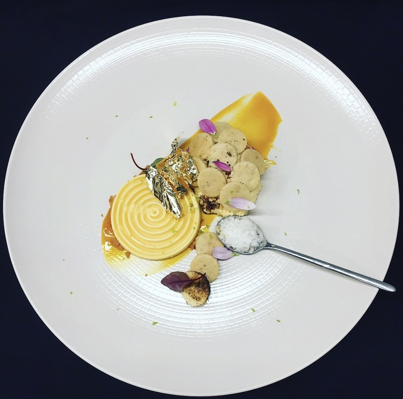 marakuya parfait, banana ice cream, banana cookies, mango, lemon sorbet