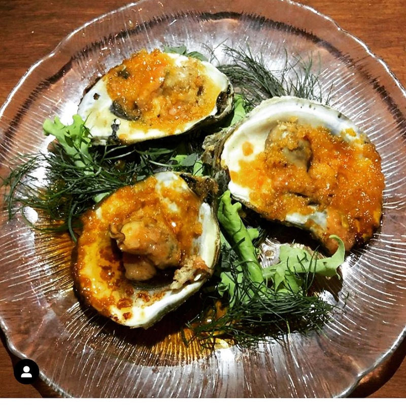 Chargrilled oysters with Kimchi butter