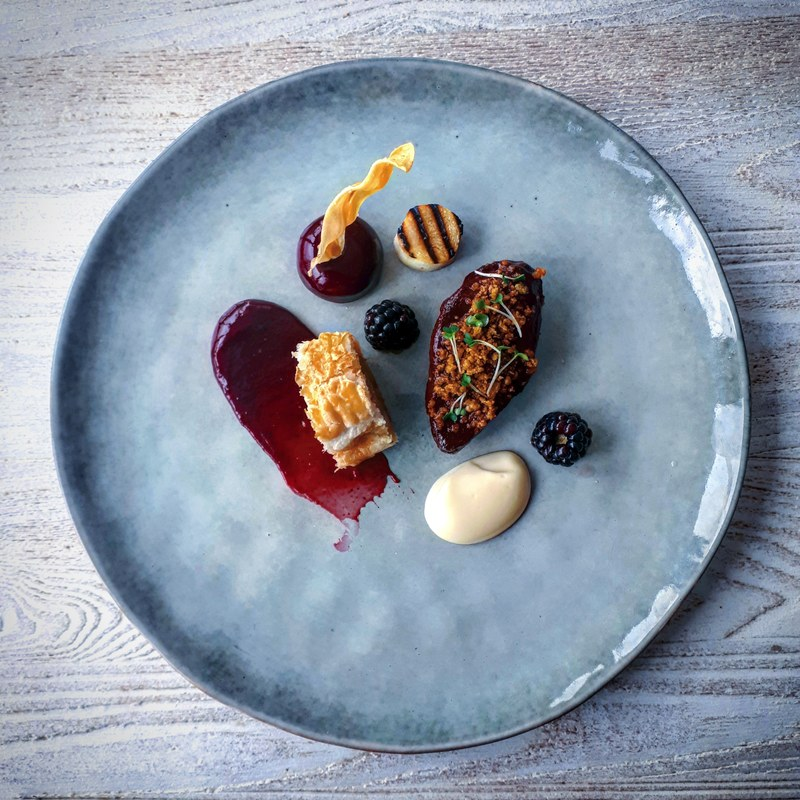 Local pigeon breast, skin crumble, leg sausage roll, liver pate, pickled blackberries, parsnip