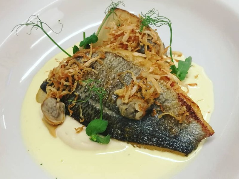 Sea Bream Fillet, Cumbrae Palourade Clams, Celeriac, Saffron Sauce