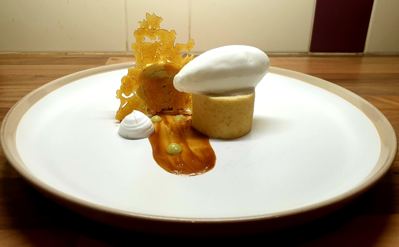 Kaya pandan biscuit rouler, coconut sorbet, coconut and lime mousse, Salted caramel tuile.:flag_ch::flag_my: