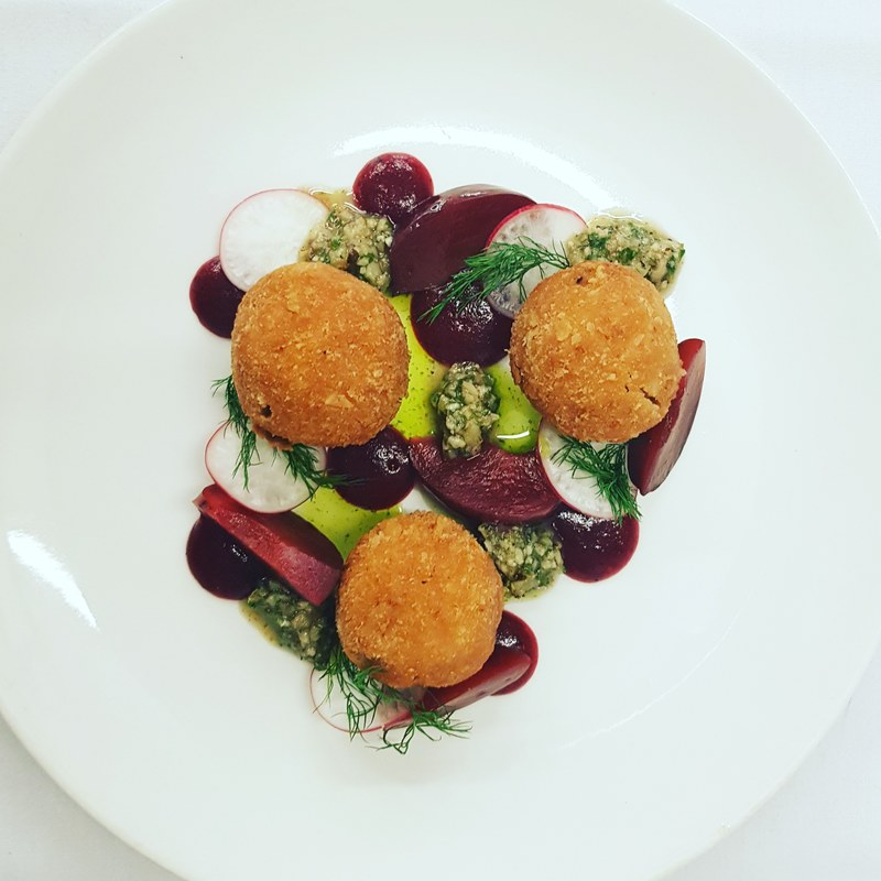 Smoked duck bon bons - plum and juniper ketchup - pickled plums - walnuts and parsley