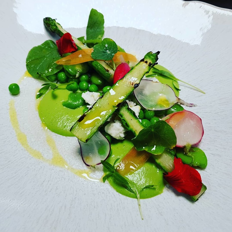 Greens and Peas-barbecue Asparagus-Radishes-Whey.