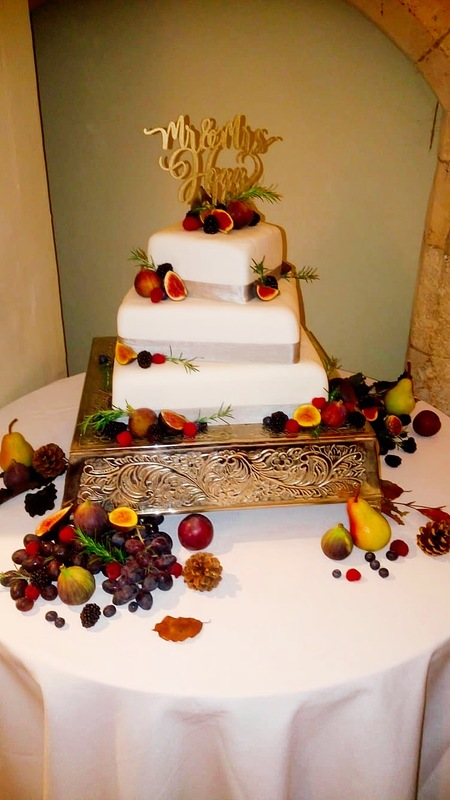 A very fruity wedding cake .