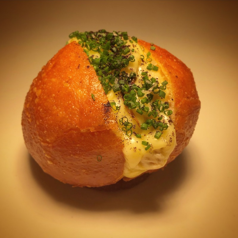 A sneak peak into the month's menu.  This is our cheese course.  A brioche doughnut cooked to order filled with Clava Brie, Black truffle and Scottish quince. @EdinbaneLodge #edinbanelodge