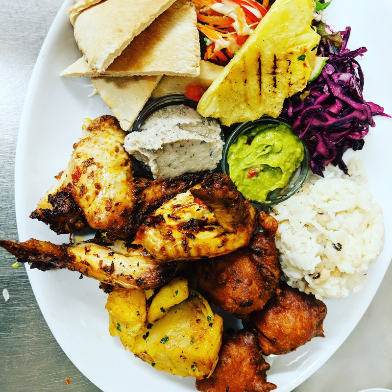 Version 1.0 of my Caribbean sharing platter. What you sayin'?
