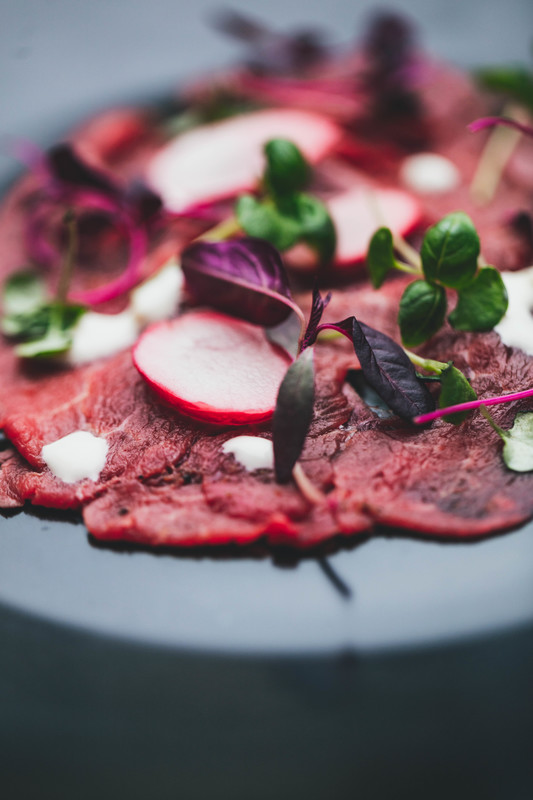 """The dry aged fillet Carpaccio prepared by Anita-Clare Field was a triumph that would have found a place in the very best Italian restaurants anywhere in the world"" - Martin Hesp , Western Daily Press   Photos by Jean-Philippe Baudey"