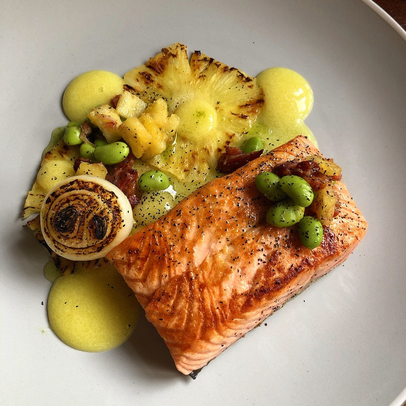 Grilled Salmon/Charred Pineapple/Pineapple Ketchup/Crispy Bacon-Edamame-Pineapple Salsa/Charred Onion/Burnt Onion Ash