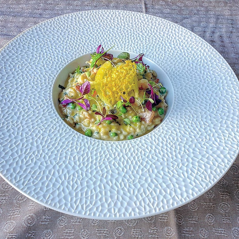 Smoked bacon prawn and fennel risotto. Parmesan, herbs, saffron pickled fennel.